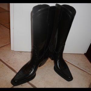 Donald Pliner black cowboy rain boots size 8